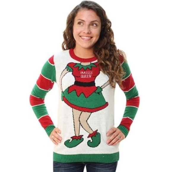 Ugly Christmas Sweater Sweaters | Womens Yaassss Queen Elf | Poshmark